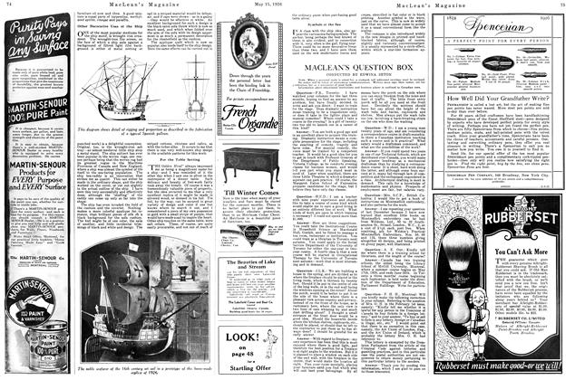 Article Preview: MACLEAN'S QUESTION BOX, May 1926   Maclean's