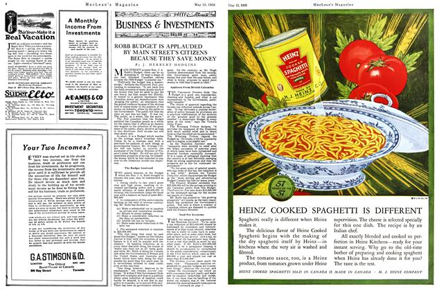 Article Preview: ROBB BUDGET IS APPLAUDED BY MAIN STREET'S CITIZENS BECAUSE THEY SAVE MONEY, May 1926   Maclean's
