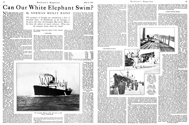 Article Preview: Can Our White Elephant Swim?, May 1926 | Maclean's