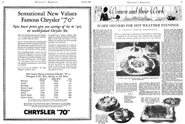 Article Preview: WARM DINNERS FOR HOT WEATHER EVENINGS, June 1926 | Maclean's