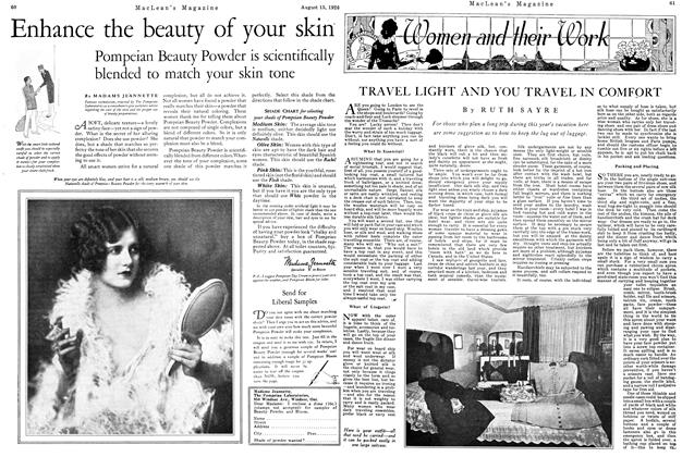 Article Preview: TRAVEL LIGHT AND YOU TRAVEL IN COMLORT, August 1926 | Maclean's