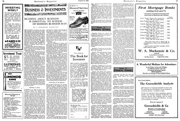 Article Preview: ANSWERS TO FINANCIAL QUERIES, August 1926 | Maclean's