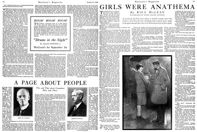 Article Preview: GIRLS WERE ANATHEMA, August 1926 | Maclean's