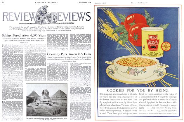 Article Preview: REVIEW of REVIEWS, September 1st 1926 1926 | Maclean's