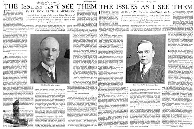 Article Preview: THE ISSUES AS I SEE THEM, September 1st 1926 1926 | Maclean's
