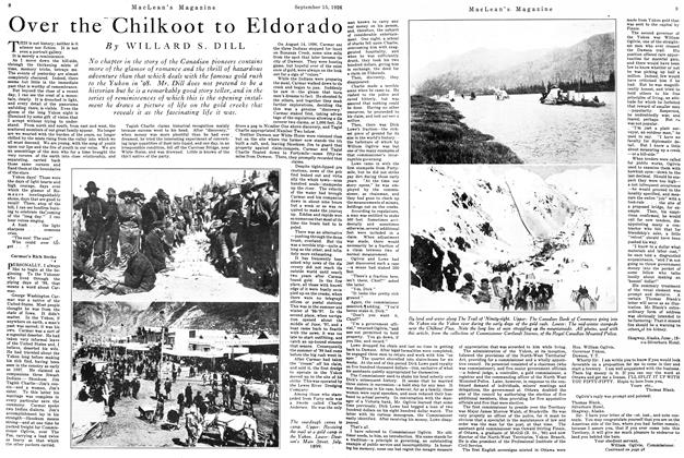 Article Preview: Over the Chilkoot to Eldorado, September 15th 1926 1926 | Maclean's