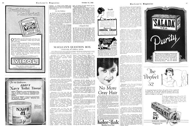 Article Preview: MACLEAN'S QUESTION BOX, October 15TH 1926 1926 | Maclean's