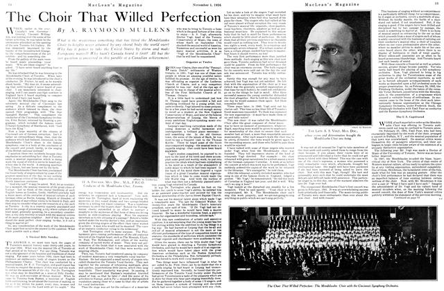 Article Preview: The Choir That Willed Perfection, November 1ST 1926 1926 | Maclean's