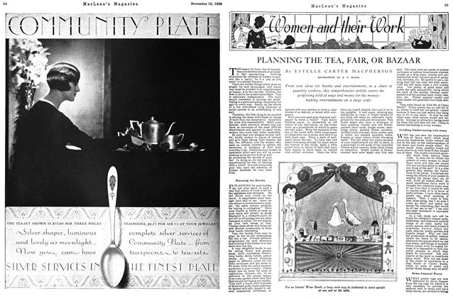 Article Preview: PLANNING THE TEA, FAIR, OR BAZAAR, Toronto, November 15, 1926 1926 | Maclean's