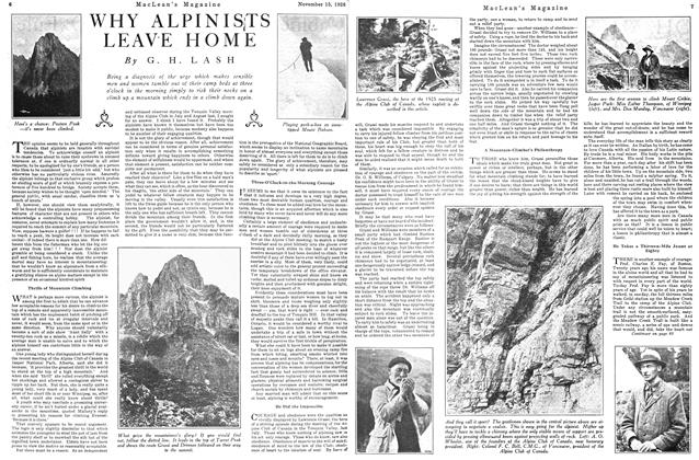 Article Preview: WHY ALPINISTS LEAVE HOME, Toronto, November 15, 1926 1926 | Maclean's