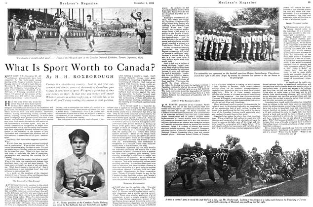 Article Preview: What Is Sport Worth to Canada?, December 1926 | Maclean's