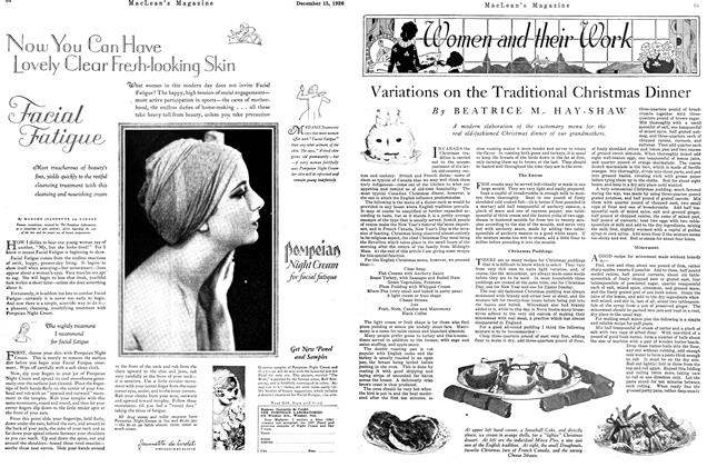 Article Preview: Variations on the Traditional Christmas Dinner, December 1926 | Maclean's