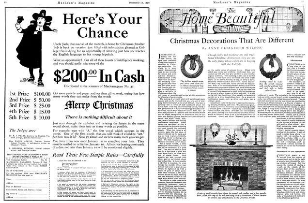 Article Preview: Christmas Decorations That Are Different, December 1926 | Maclean's