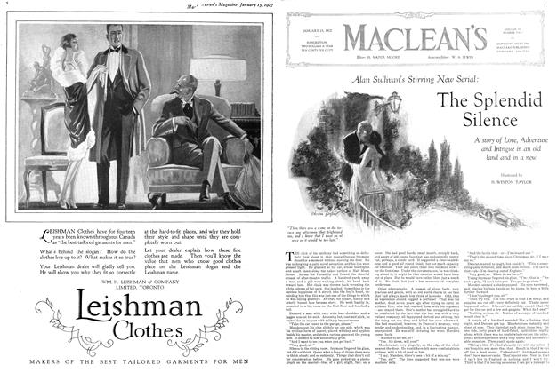 Article Preview: Alan Sullivan's Stirring New Serial: The Splendid Silence, January 15TH 1927 1927 | Maclean's