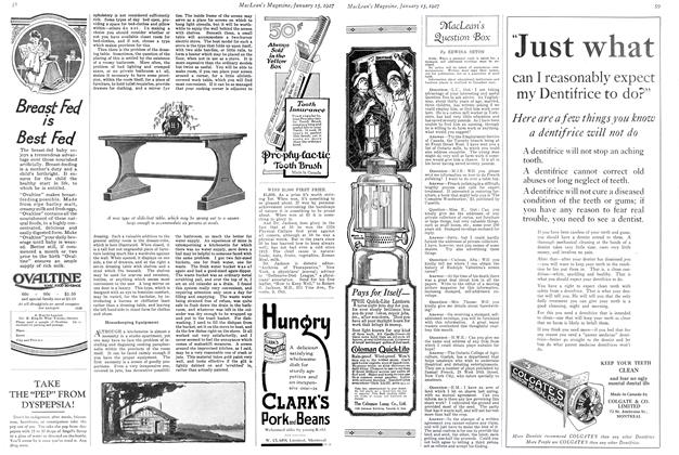 Article Preview: MacLean's Question Box, January 15TH 1927 1927 | Maclean's
