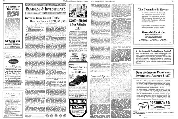 Article Preview: Revenue from Tourist Traffic Reaches Total of $194,000,000, January 15TH 1927 1927 | Maclean's