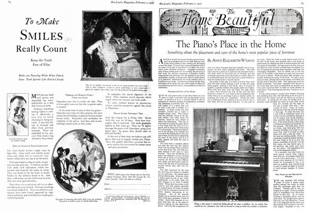 Article Preview: The Piano's Place in the Home, February 1st 1927 1927 | Maclean's
