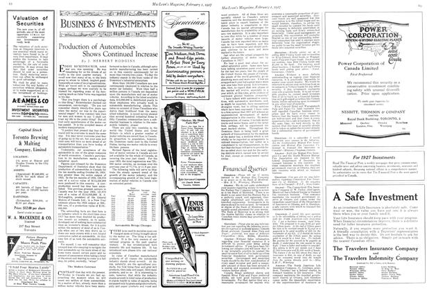 Article Preview: Production of Automobiles Shows Continued Increase, February 1st 1927 1927 | Maclean's