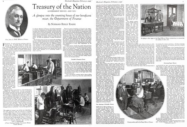 Article Preview: Treasury of the Nation GOVERNMENT SERVICE—AND YOU, February 1st 1927 1927 | Maclean's