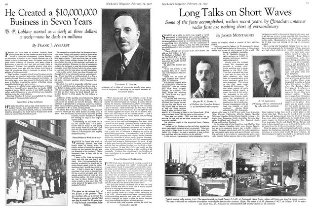 Article Preview: Long Talks on Short Waves, February 15th 1927 1927 | Maclean's