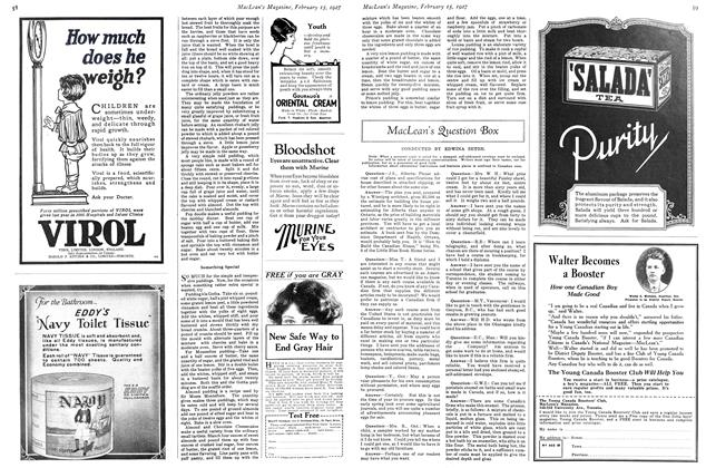 Article Preview: MacLean's Question Box, February 15th 1927 1927 | Maclean's
