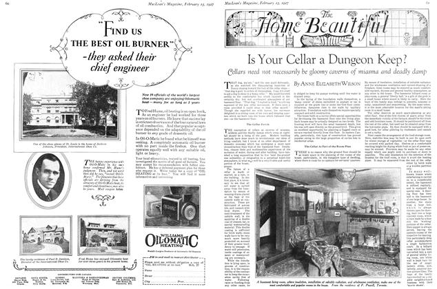 Article Preview: Is Your Cellar a Dungeon Keep?, February 15th 1927 1927   Maclean's