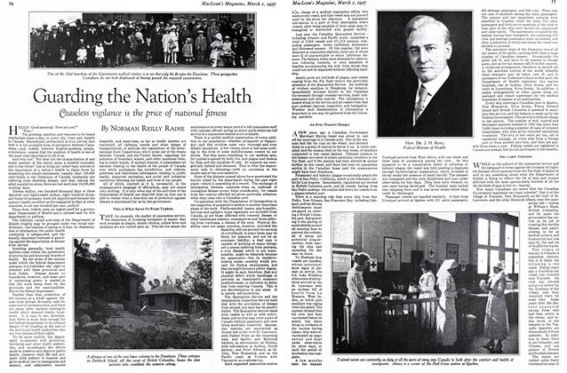 Article Preview: Guarding the Nation's Health, March 1st 1927 1927 | Maclean's