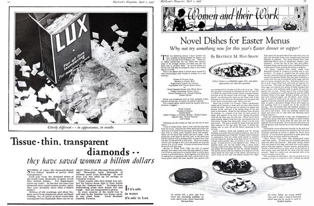 Article Preview: Novel Dishes for Easter Menus, April 1ST 1927 1927 | Maclean's