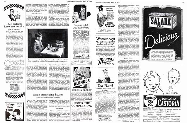 Article Preview: Some Appetising Sauces, April 1ST 1927 1927   Maclean's