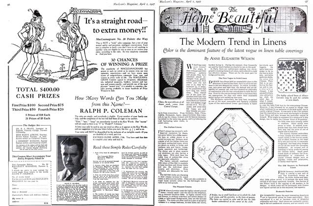 Article Preview: The Modern Trend in Linens, April 1ST 1927 1927   Maclean's