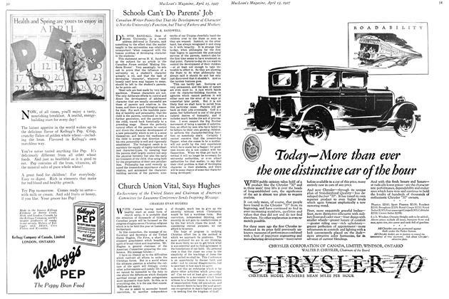 Article Preview: Schools Can't Do Parents' Job, April 15th 1927 1927 | Maclean's
