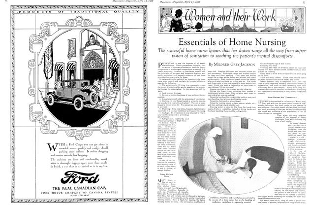 Article Preview: Essentials of Home Nursing, April 15th 1927 1927 | Maclean's