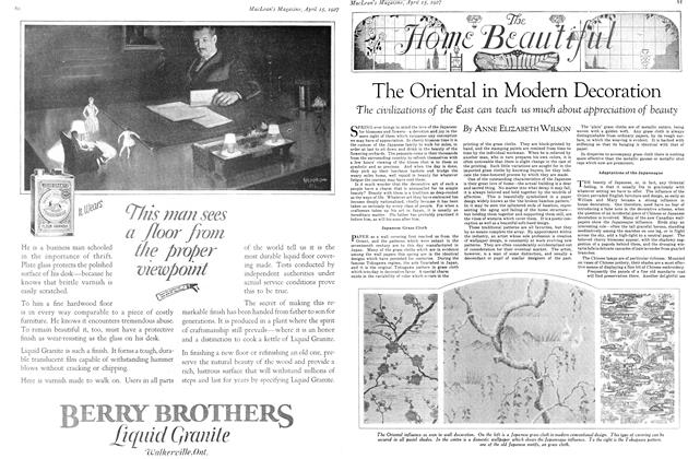 Article Preview: The Oriental in Modem Decoration, April 15th 1927 1927 | Maclean's