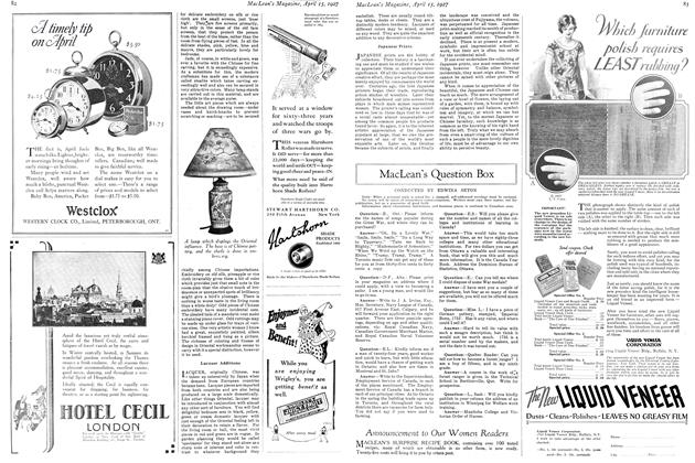 Article Preview: MacLean's Question Box, April 15th 1927 1927   Maclean's