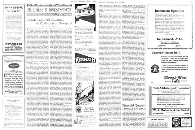 Article Preview: Canada Leads All Countries in Production of Newsprint, April 15th 1927 1927 | Maclean's