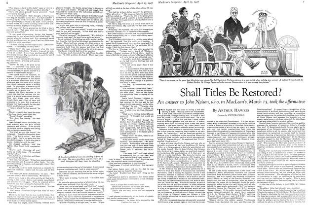Article Preview: Shall Titles Be Restored?, April 15th 1927 1927 | Maclean's
