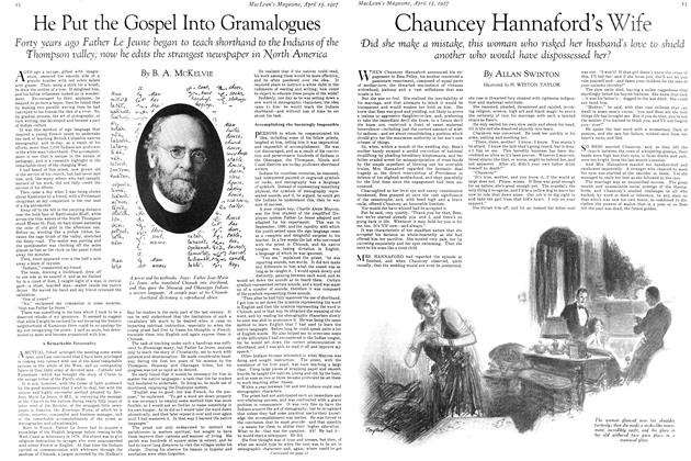 Article Preview: Chauncey Hannaford's Wife, April 15th 1927 1927 | Maclean's