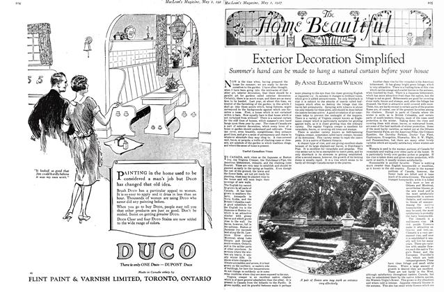 Article Preview: Exterior Decoration Simplified, MAY 1st 1927 1927 | Maclean's