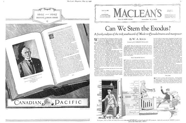 Article Preview: Can We Stem the Exodus?, May 15TH 1927 1927 | Maclean's