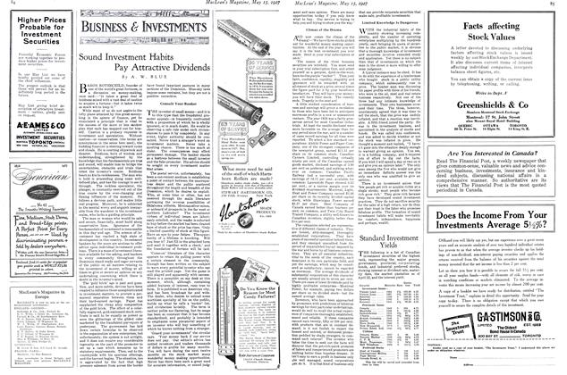 Article Preview: Sound Investment Habits Pay Attractive Dividends, May 15TH 1927 1927   Maclean's