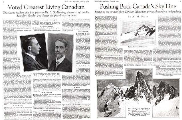 Article Preview: Pushing Back Canada's Sky Line, June 15 th 1927 1927 | Maclean's