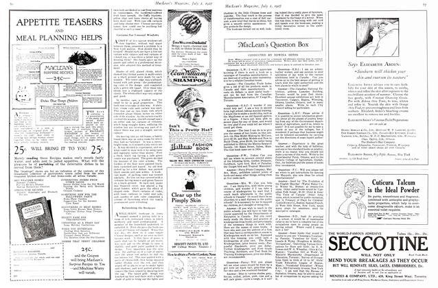 Article Preview: MacLean's Question Box, July 1927 | Maclean's