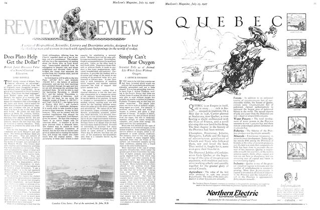 Article Preview: Simply Can't Bear Oxygen, July 15th 1927 1927 | Maclean's