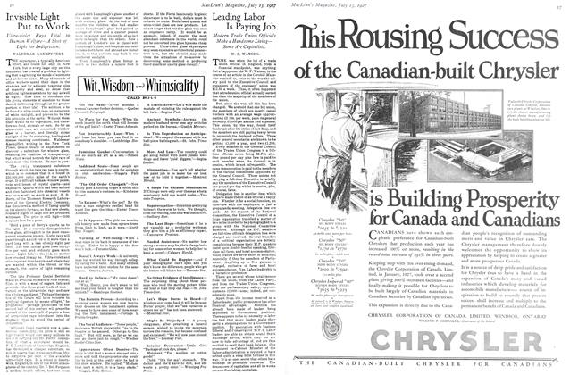 Article Preview: Invisible Light Put to Work, July 15th 1927 1927   Maclean's