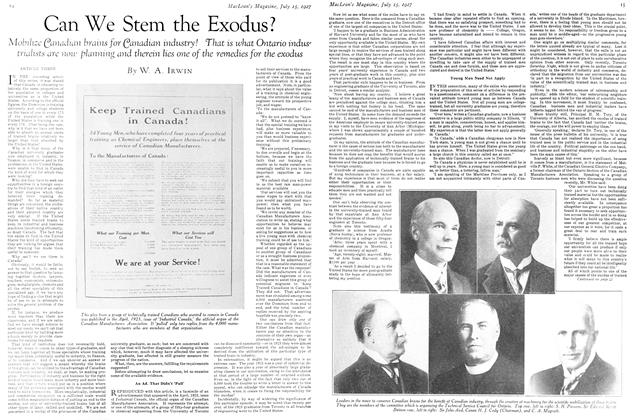 Article Preview: Can We Stem the Exodus?, July 15th 1927 1927 | Maclean's