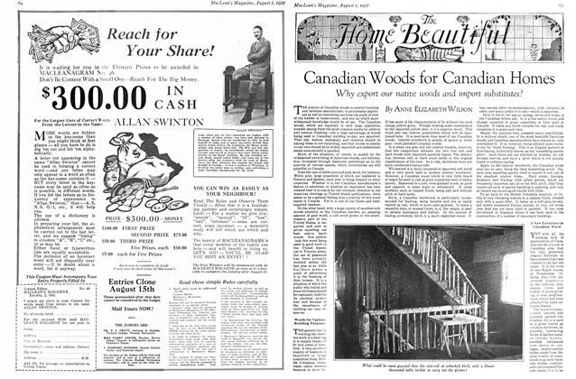 Article Preview: Canadian Woods for Canadian Homes, August 1927 | Maclean's