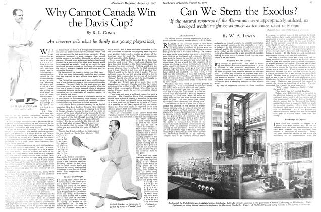 Article Preview: Can We Stem the Exodus?, August 15th 1927 1927 | Maclean's