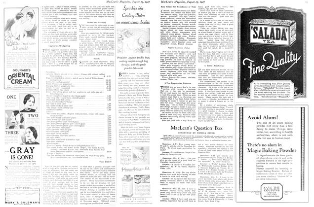Article Preview: MacLean's Question Box, August 15th 1927 1927 | Maclean's