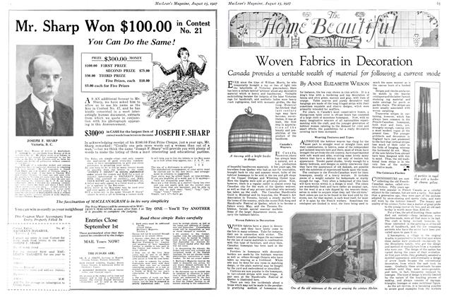Article Preview: Woven Fabrics in Decoration, August 15th 1927 1927 | Maclean's