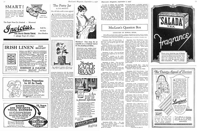 Article Preview: MacLean's Question Box, September 1st 1927 1927 | Maclean's
